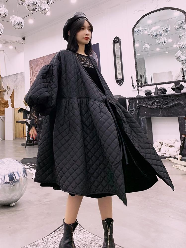 Personnels Noir Pardessus Bouffantes Femmes Surdimensionné Dame Coréen Manches Genou Style Manteau Chaud Longueur Bf Hiver Coton p1P5Z