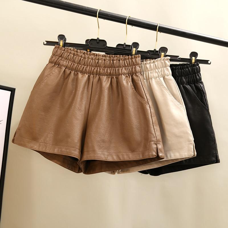 Khaki PU Leather Shorts Women High Quality Wide Leg Faux Leather Shorts High Waist  Shorts For Women  Autumn Loose PU Shorts