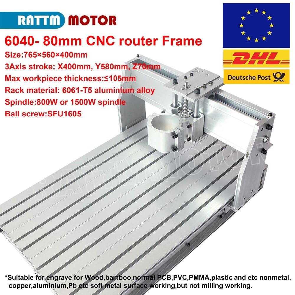 CNC 6040 DIY Router Frame Milling Machine Mechanical 65mm/80mm Spindle Diameter Kit