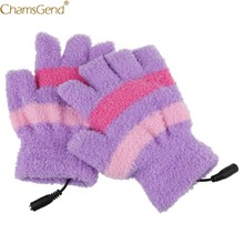 Women's Fashion Warm Gloves Multicolor USB Heating Winter Hand Warm Gloves Heated Fingerless Warmer Mitten Nov30(China)