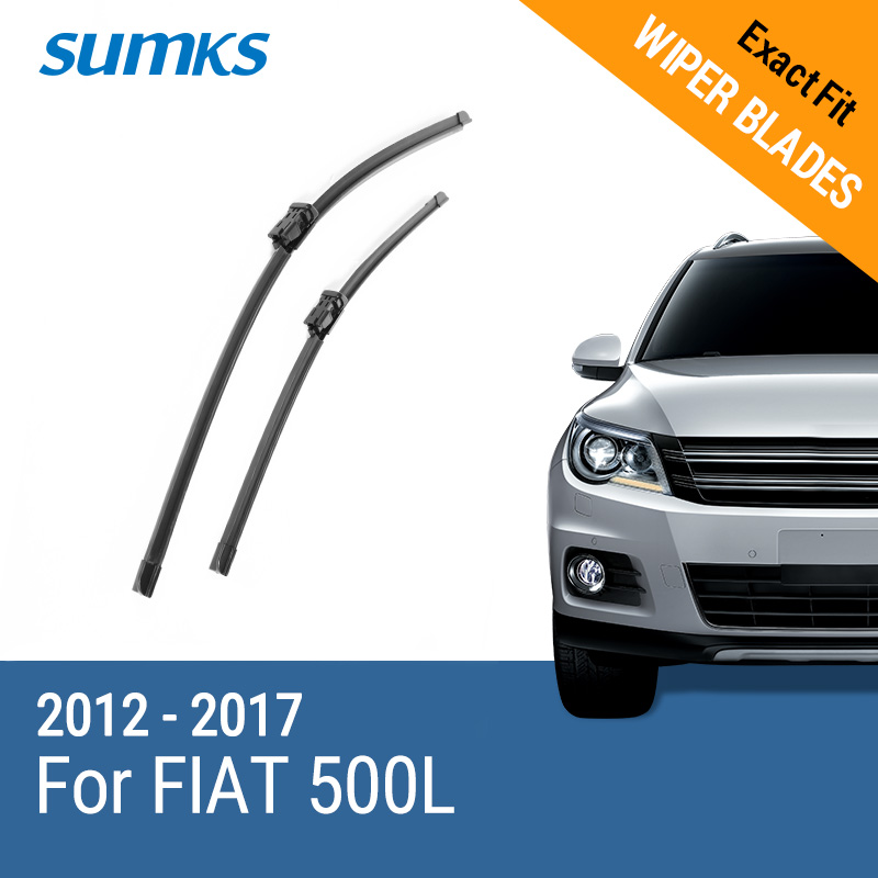 SUMKS Wiper Blades For FIAT 500L Fit Push Button Arms 2012