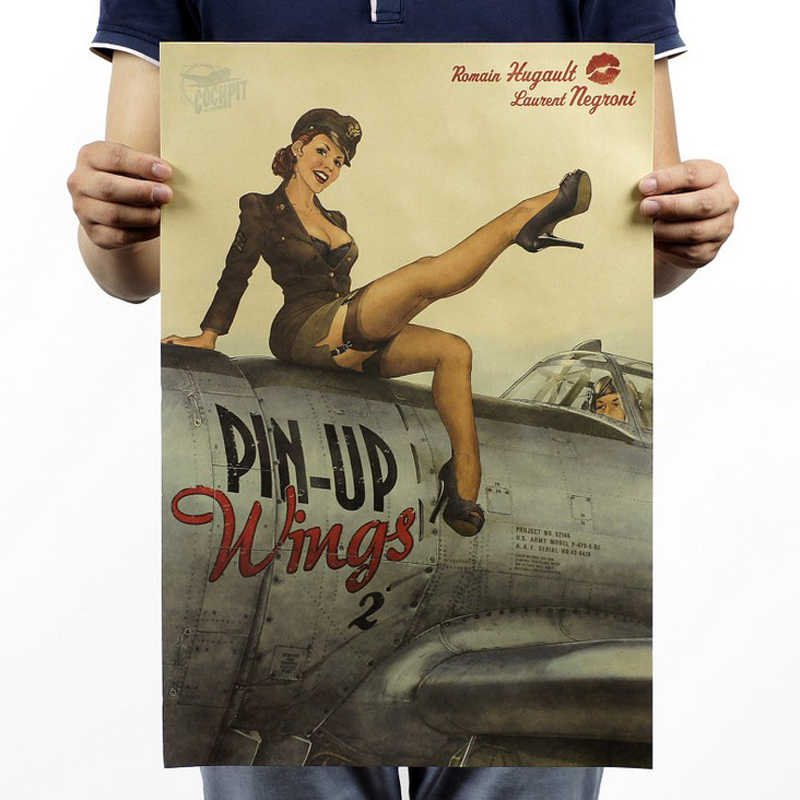 Free shipping,World War II sexy girl/Nostalgic photo/kraft paper/bar poster/Retro Poster/decorative painting 51x35.5cm