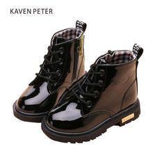 Children s spring boots ankle Martin boots girl toddler boots for kids Patent Leather Waterproof Anticollision