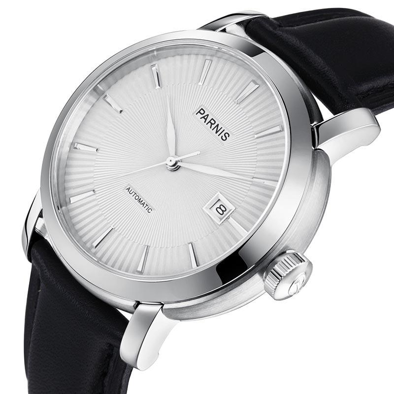 Image 2 - Mens Watch Relojios Dress Brand Mechanical Watches Parnis 41mm 21 Jewels Japan Sapphire Leather  Automatic Men Watch Wristwatch    -
