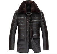 Men S Sheep Leather Jacket Mink Fur Collar Leather Down Jacket Slim Long Section Parka Custom