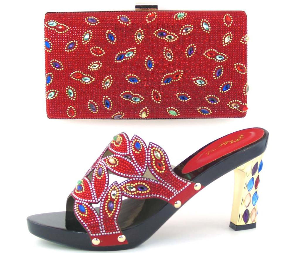 Red Color Italian Design Matching Shoe and Bag Set,African Party Shoe and Bag Set for Nigeria Wedding Shoes HOT11.11