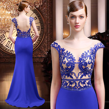 Vestido de Festa Longo 2016 Mermaid Royal Blue Red Spandex Sheer Flügelärmeln Pailletten Appliques Lange Abendkleider