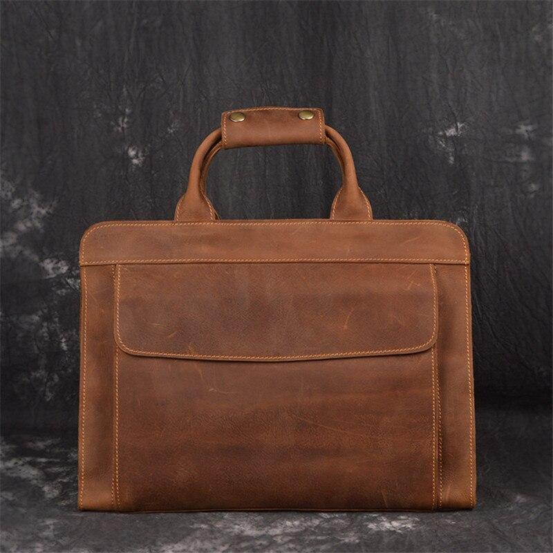 Nesitu New High Quality Vintage Brown Genuine Leather A4 Office Men Briefcase Portfolio Business Shoulder Messenger Bags M019