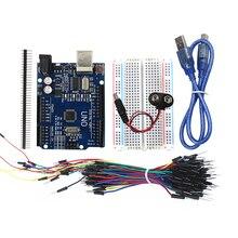 Комплект 5 предметов: UNO R3, макет, перемычек, Кабель USB и 9 В Батарея разъем для Arduino DIY Kit