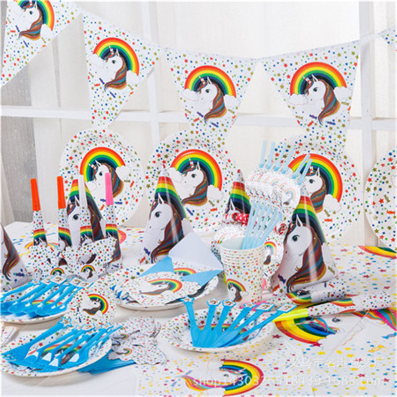 Eva2king Unicorn Decorations Baby Birthday Party Theme Party Graduation Gathering Decorative Paper Environmental Set Toy