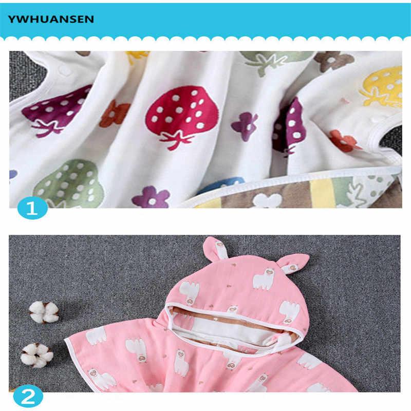 YWHUANSEN 60*60 cm 6 capas de gasa con capucha Toalla de playa algodón bebé capa toallas suave Poncho niños ropa de baño para los bebés toalla