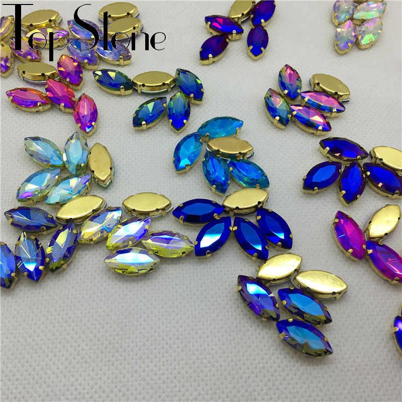 Semua Ukuran dan Warna AB Kuda Mata Menjahit Pada Kaca Kristal Aiguebelle Batu Mewah dengan Emas Cakar Pengaturan Jahit Rhinestones 5x10mm ~ 17X32 Mm