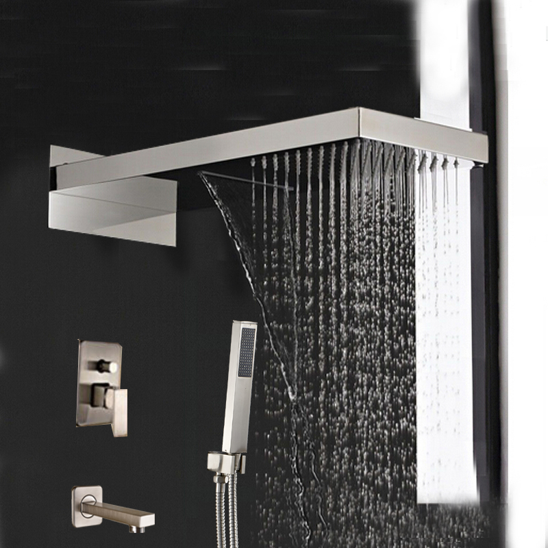 Wall Mount Brushed Nickel Shower Head Faucet Tub Spout Mixer +Hand Shower Spray wall mount brushed nickel shower head faucet tub spout mixer hand shower spray