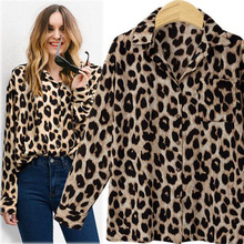 New Style Fashion Women Long Sleeve European Leopard Print Leisure Blouses Shirts