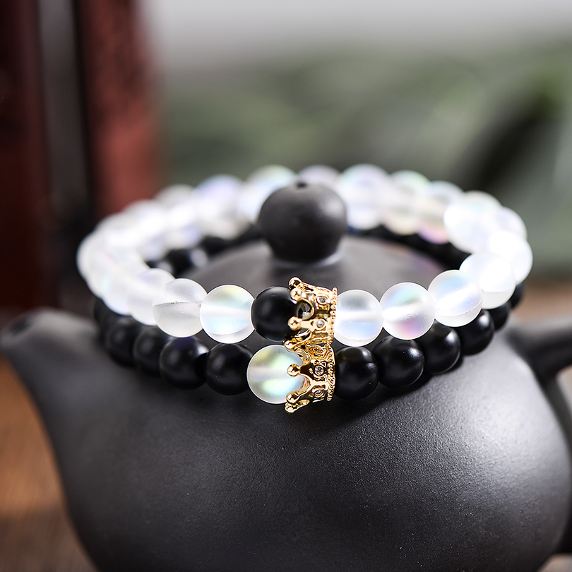 Trendy Natural Moonstone Beads Bracelets Men Jewelry Charm Golden Crystal Crown Bracelet For Women Bangles Pulseira Masculina