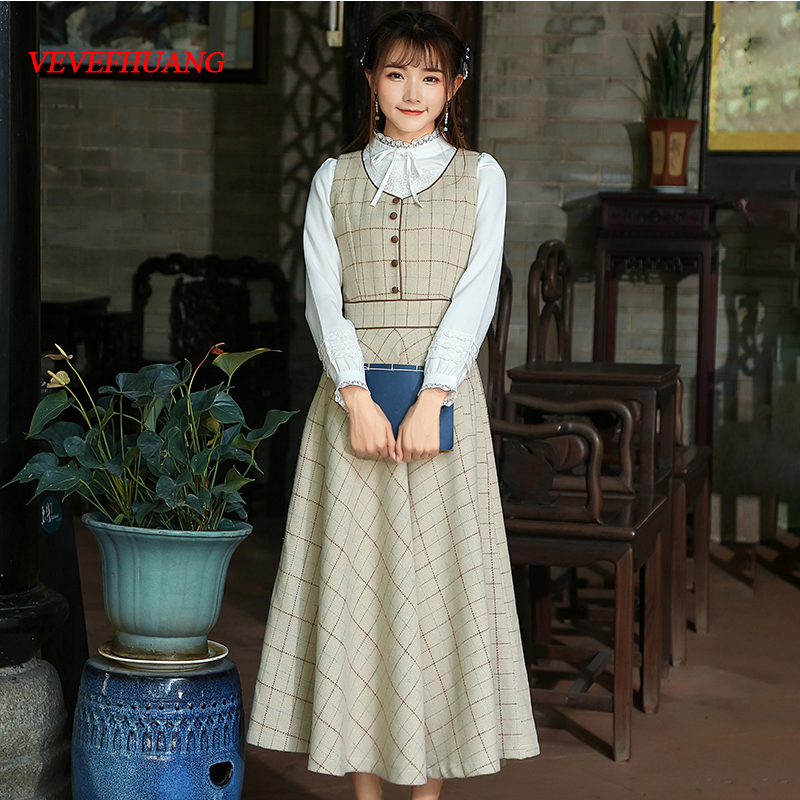 2018 New Autumn Vintage Women Long dress Plaid Slim Take Her Straps Closed Waist A Word Dresses Pictures L0713