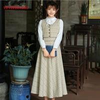 2018 New Autumn Vintage Women Long dress Plaid Slim Take Her Straps Closed Waist A Word Dresses Pictures L0713
