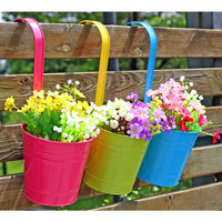 33 3CM Wrought Iron Large Flower Barrel 1PC Balcony Pots Planters Wall Hanging Bucket Pastoral Flower