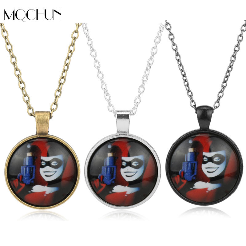 Movie Suicide Squad DC Comics Marvel Necklace Harley Quinn Pendant Neck Chain Anime Jewelry Cartoon Necklaces For Girl Boys