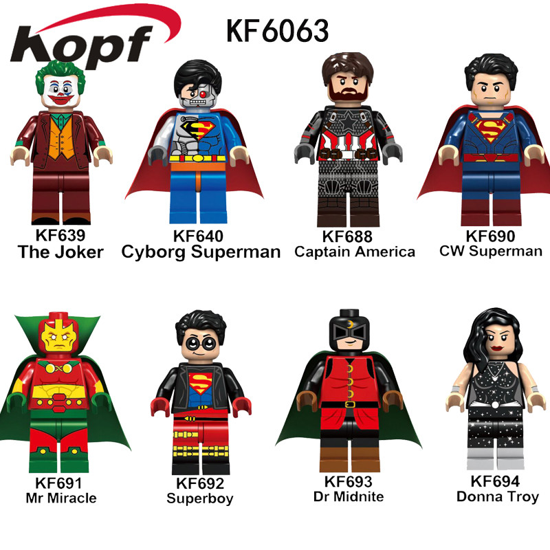 Building BLocks Bricks Super Heroes CW Superman Mr Miracle Midnite Donna Troy Action Figures Toys Gift For Children KF6063