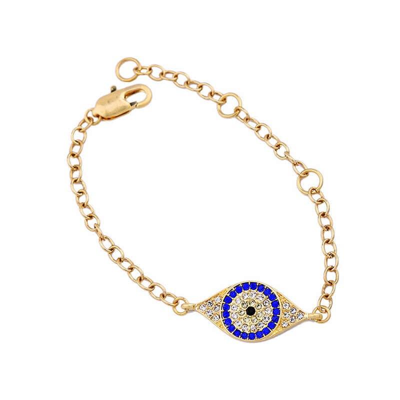 Turki Perhiasan untuk Wanita dengan Crystal Emas Perak Berlapis Fatima Mata Biru Jimat Gelang Rantai Femme Perhiasan