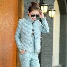2015 New Fashion Women Winter Suit Stand collar Cotton Trousers Vest Three piece Suit Leisure Elegant