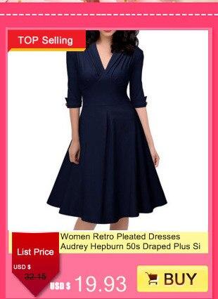 af6d0dd2ef07e Women Retro Pleated Dresses Audrey Hepburn 50s Draped Plus Size Vintage  Dresses Summer 3/4 Sleeve V Neck Slim Vestido De Festa-in Dresses from  Women's ...