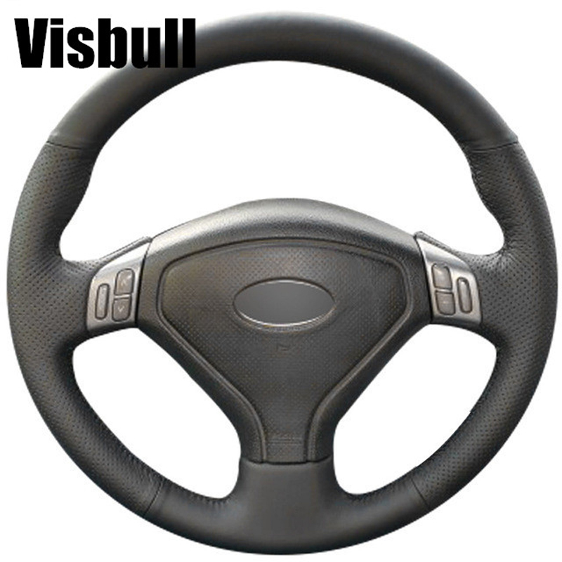 Visbull Black PU Leather Car Steering Wheel Cover V1099 for Subaru Forester 2004-2006 Outback 2004 2005 Legacy 2004-2006