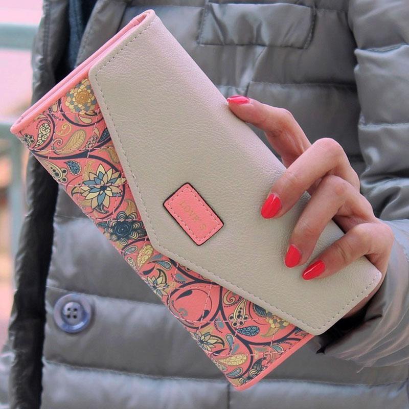 Hot Ladies Long Flower Portfolio Female Envelope Wallet Purse Slots Holder Snap Button Hasp Purses Photo Slot 1STL
