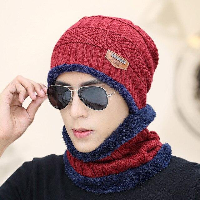 2017 Winter Beanie Women Men Fashion Solid Fur Wool Lining Thick Warm Knit Winter Hat Cap Scarf Skullies Bonnet Scarf