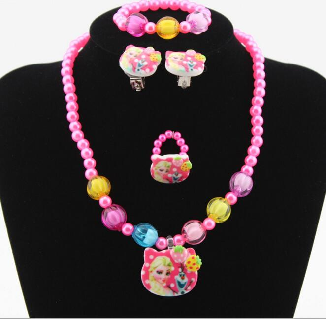 4pcs Imitation Pearl Cartoon mixed kitty princess flower Necklace/Bracelet/Ring/Earrings Children Kids Jewelry Set Xmas Gift