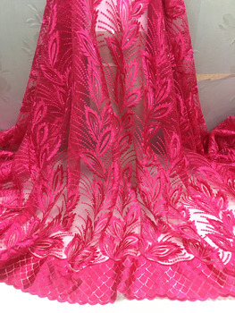 2019 Rose red High quality nigerian Bridal french net lace african lace fabric for wedding dress 5yards/lot free shipping