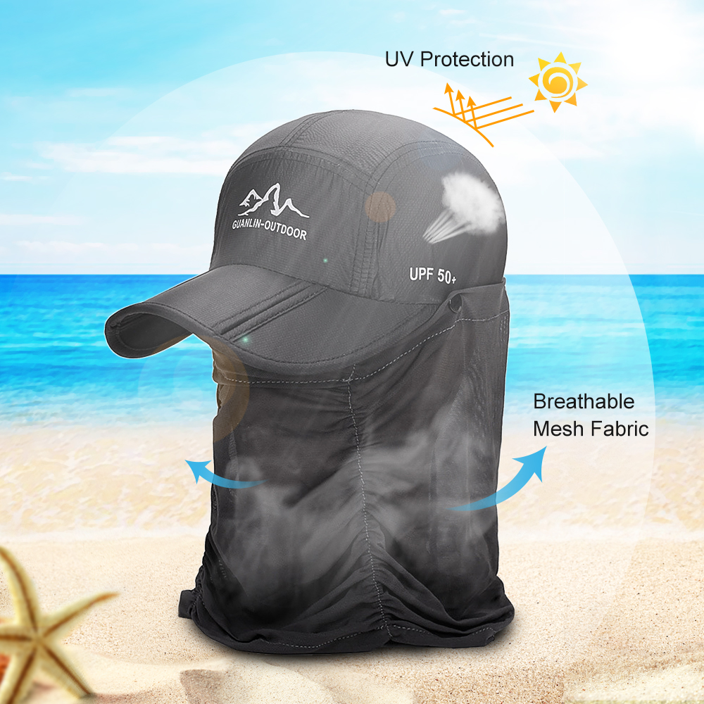 Outdoor UV Fishing Hat Women Protection Folding Sun Hat Fishing Hiking Sun Cap with Face Neck Flap Cover-in Fishing Caps from Sports & Entertainment