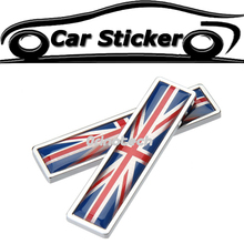 2PCS The Union Jack Badge Emblem Sticker For MINI COOPER BMW Ford Chevrolet Volkswagen Audi Opel Volvo Mazda Infiniti Citroen