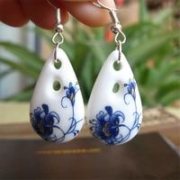 Ethnic Art Ceramic Blue And White Porcelain Pendant Eardrop Earrings High Quality Earrings For Women Jewelry