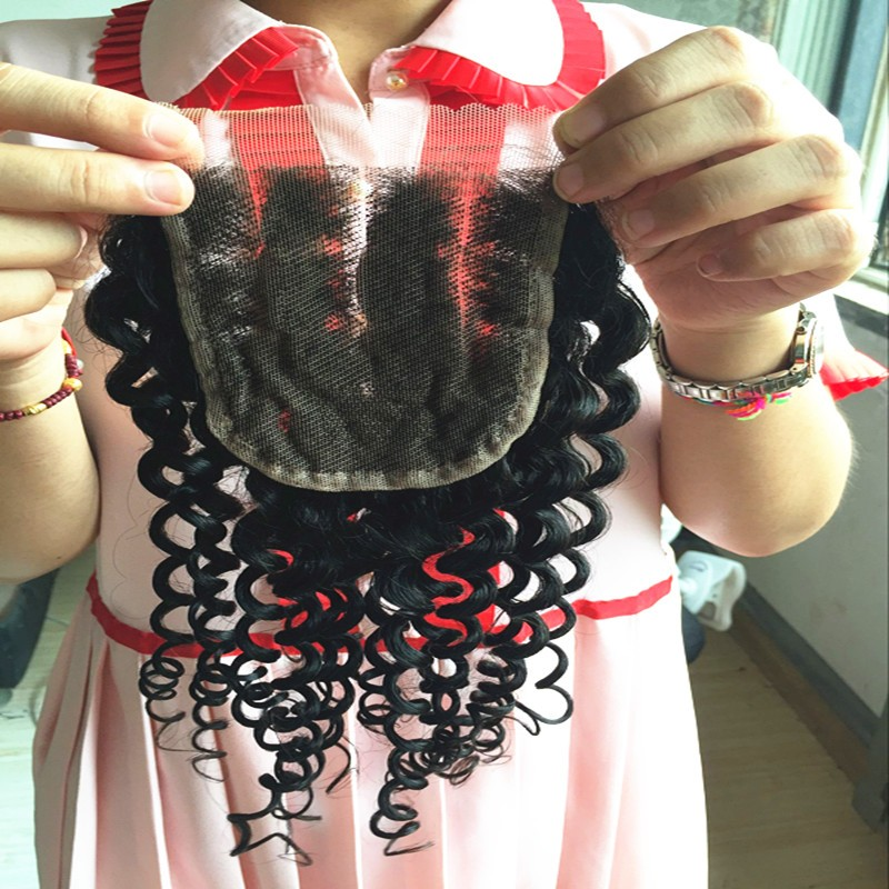 Brazilian Curly Lace Closure 1Pc Free Shipping Deep Curly Virgin Human Hair Lace Closure Bleached knots Free/Middle/3 Part