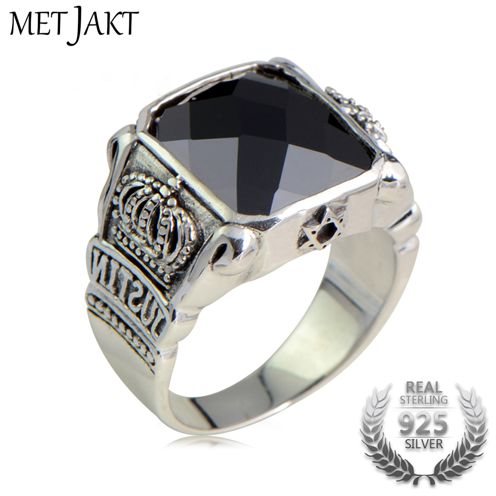 MetJakt Natural Obsidian Vintage Crown Rings Solid 925 Sterling Silver Ring for Mens Jewelry Boutique CollectionsMetJakt Natural Obsidian Vintage Crown Rings Solid 925 Sterling Silver Ring for Mens Jewelry Boutique Collections