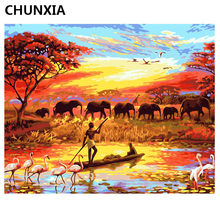 CHUNXIA Painting By Numbers DIY Framed Oil Paint Pictures Wall Art Home Decor Unique Gift E871(China)