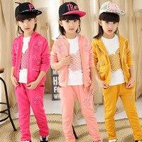Çocuk Giysi Kız Sonbahar Giyim Suit Yeni Desen Çocuk Üç parçalı Sonbahar Kız 3 Parça Çocuklar Giyim Setleri Suits