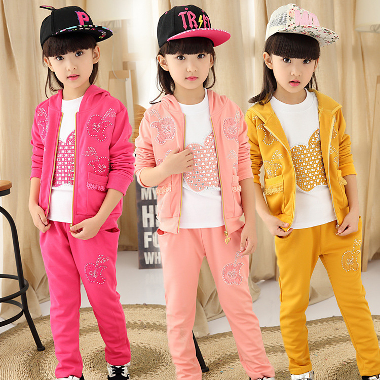 Children's Garment Girl Autumn Clothing Suit New Pattern Children Three-piece Autumn Girl 3 Pieces Kids Clothing Sets Suits children s garment girl autumn clothing suit new pattern two children and autumn embroidered time motion suit hot 2 pieces