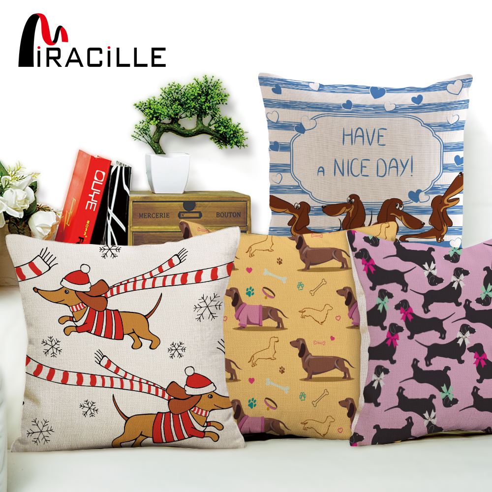 Miracille Square Dachshund Cushion Cover Dog Printing Linen Throw Pillows For Car Sofa Home Decorative Pillowcase Decoration Home Textile