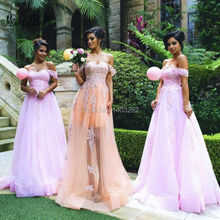 2016 Off The Shoulder African Pink Long Bridesmaid Dresses Bruidsmeisjes Jurk Lace Tulle Dresses Wedding Guest Dress Prom Gowns