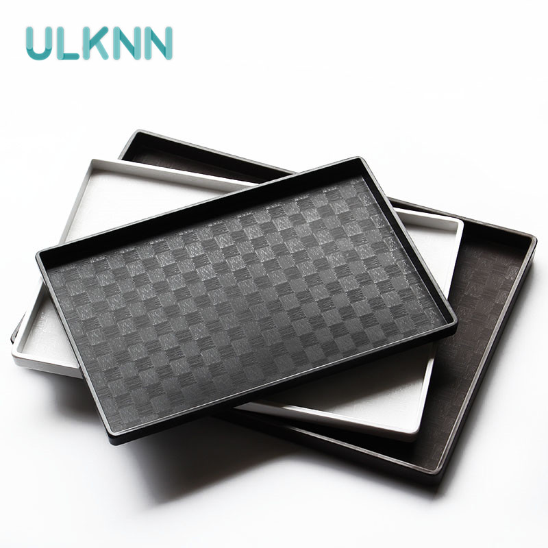 plastic fast food tray restaurant serving trays mosaic kitchen bar dinnerware european hotel thickening plate black