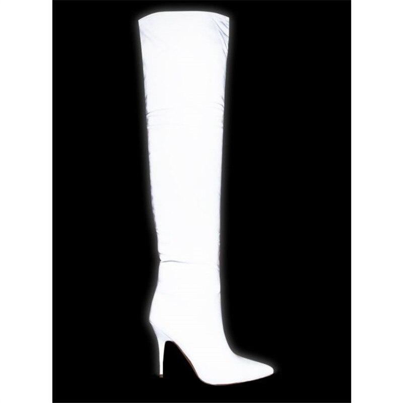 Del Tacón Stretch Moda Las Muslo Slim Lycra De Reflectante Mujeres Alta Encima Botas Top Rodilla Por Gray Mujer Alto Zapatos 41 La Sexy 4I0nTvqx