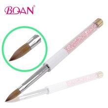 5 Pcs 10# New Developed Pink Rhinestone Acrylic Brush with Golden Brush Bottom Kolinsky Hair Brushes