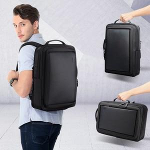 Image 3 - BOPAI Stylish Leather plecak for Men Fashion Mens Rucksack Backpack Solid Slim Men School Bags USB College School Backpack Black