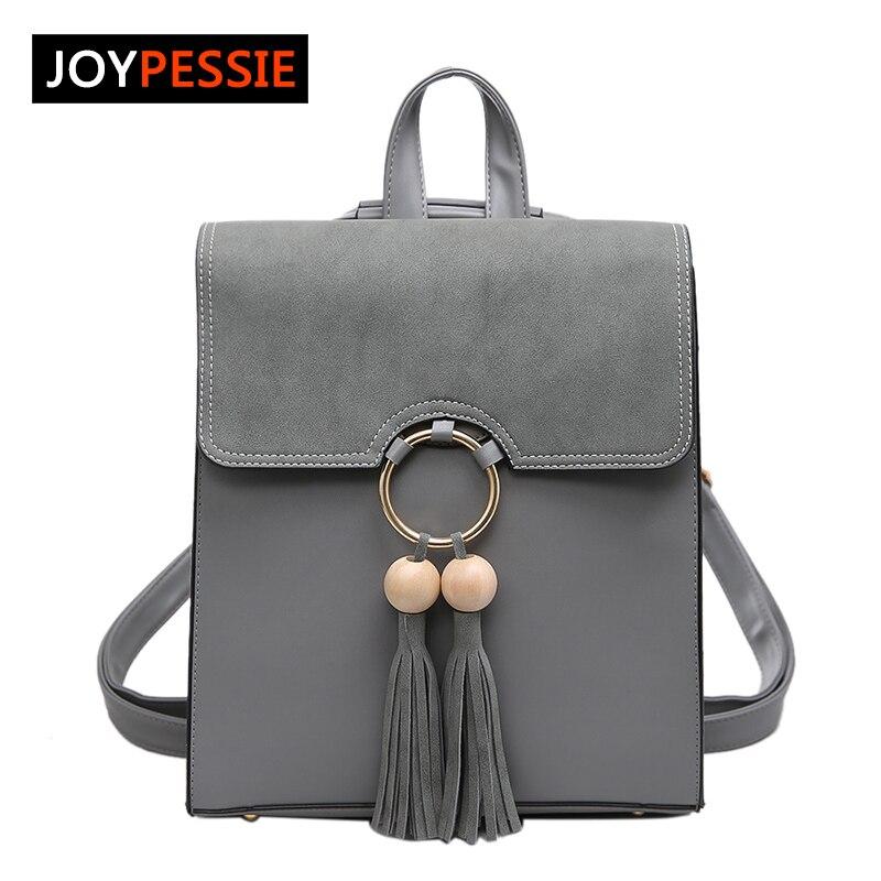 Joypessie Fashion Brand PU Leather Women Backpack Fashion Tassel Shoulder Bag For Girls School Backpack Bags joypessie composite women backpack pu leather backpack for teenage girls female school backpack with shoulder purse
