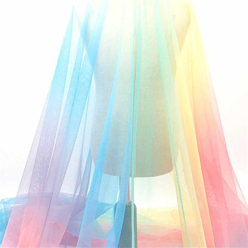 1.5*1 Meter Colorful Rainbow Printing Tulle Fabric DIY Sewing Baby Shower Tutu Skirt Princess Dress Wedding Party Decor Supplies