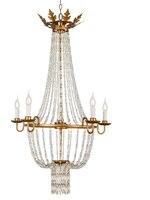 Золотой лист один ярус люстра/26 Wx45 H/6 огни кристалл лампы с нанизанными на Стекло акценты /сказка элегантность