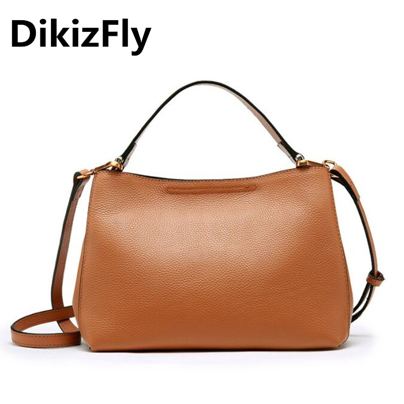 DikizFly New 2018 Classic Women Bags Genuine Leather Totes Bags Women Crossbody Bag Real Leather Handbag Ladies Large Brand Bag famous brand women bag design classic hollow out lace real leather shoulder bag ladies party handbag luxury crossbody bags